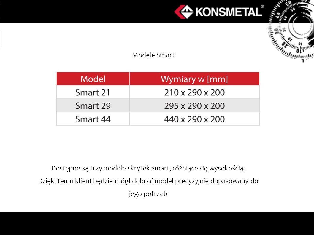 Dostępne są trzy modele skrytek Smart, różniące się wysokością.