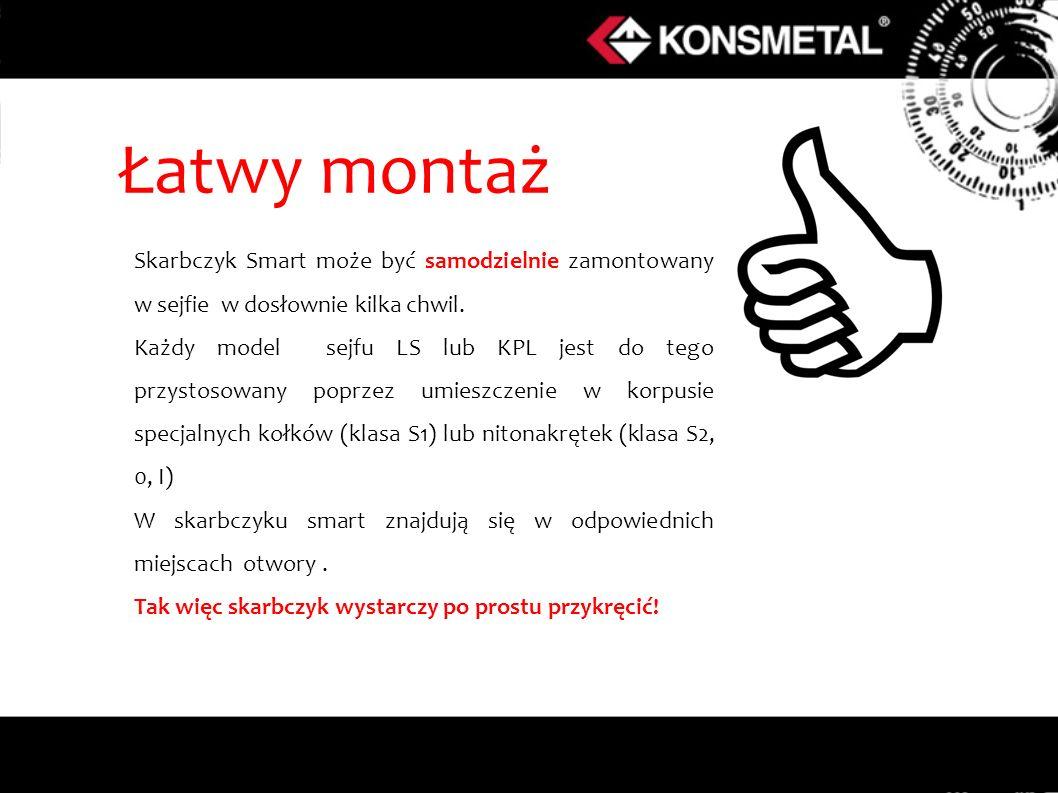 Łatwy montaż Skarbczyk Smart może być samodzielnie zamontowany w sejfie w dosłownie kilka chwil.