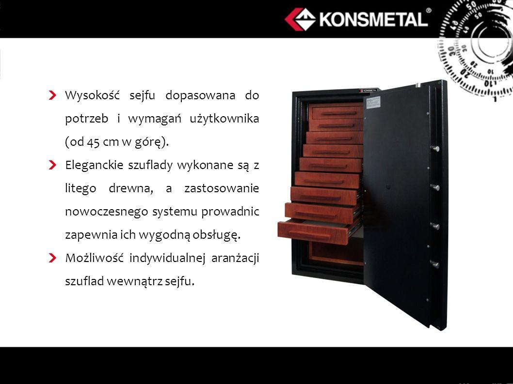 Wysokość sejfu dopasowana do potrzeb i wymagań użytkownika (od 45 cm w górę).