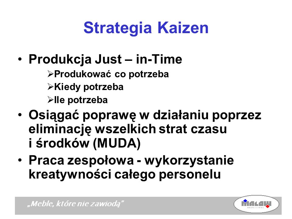 Strategia Kaizen Produkcja Just – in-Time