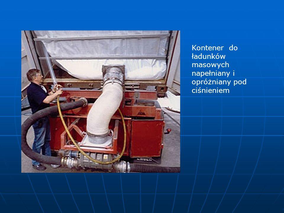 Kontener do ładunków masowych napełniany i opróżniany pod ciśnieniem