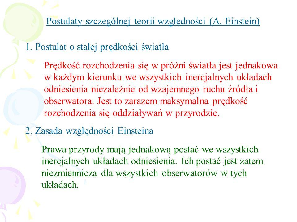 Postulaty szczególnej teorii względności (A. Einstein)