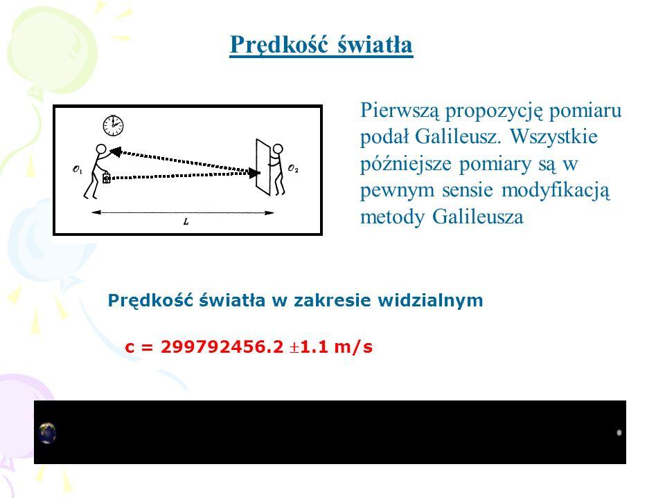 Prędkość światła Pierwszą propozycję pomiaru