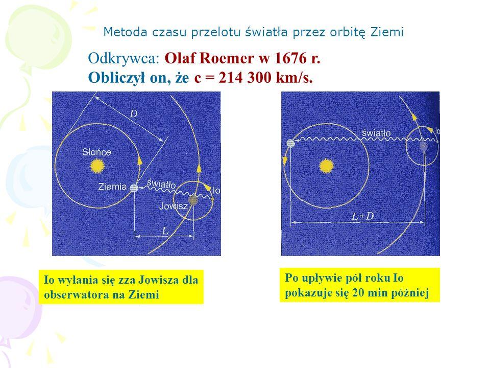 Odkrywca: Olaf Roemer w 1676 r. Obliczył on, że c = 214 300 km/s.