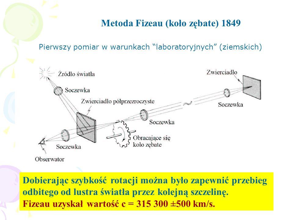 Metoda Fizeau (koło zębate) 1849