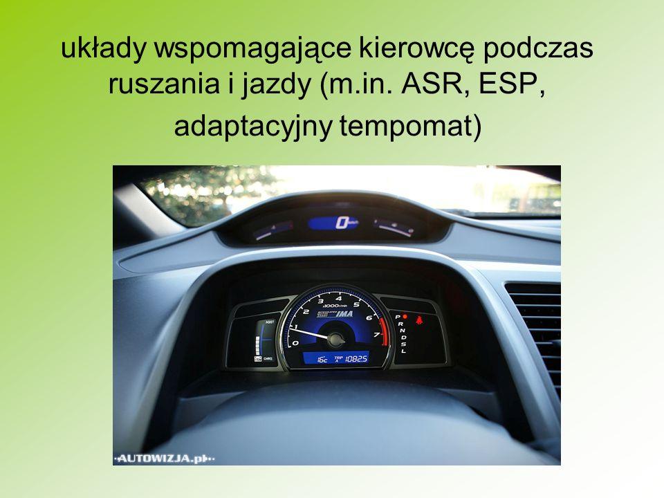 układy wspomagające kierowcę podczas ruszania i jazdy (m. in