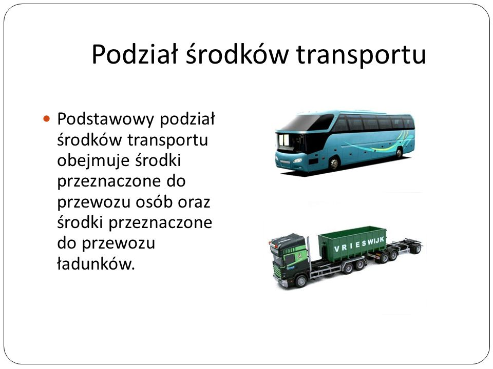 Podział środków transportu