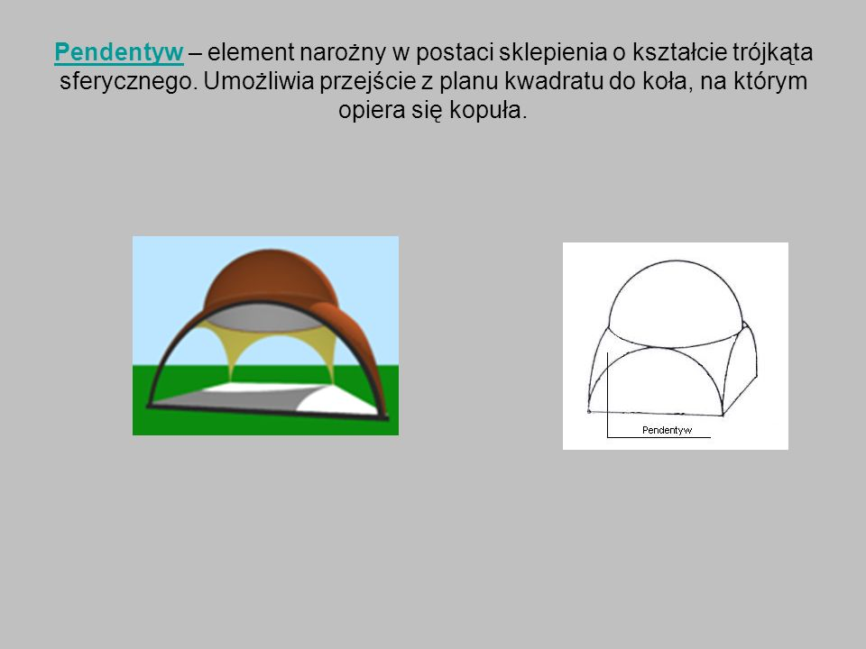 Pendentyw – element narożny w postaci sklepienia o kształcie trójkąta sferycznego.
