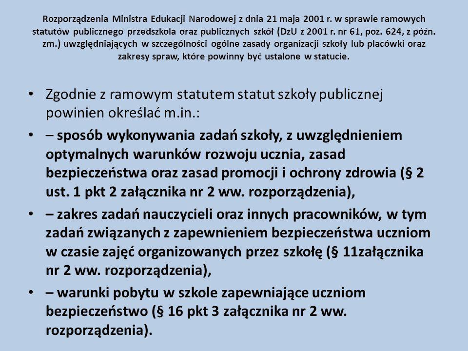 Rozporządzenia Ministra Edukacji Narodowej z dnia 21 maja 2001 r