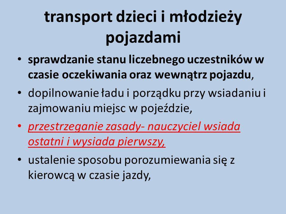 transport dzieci i młodzieży pojazdami