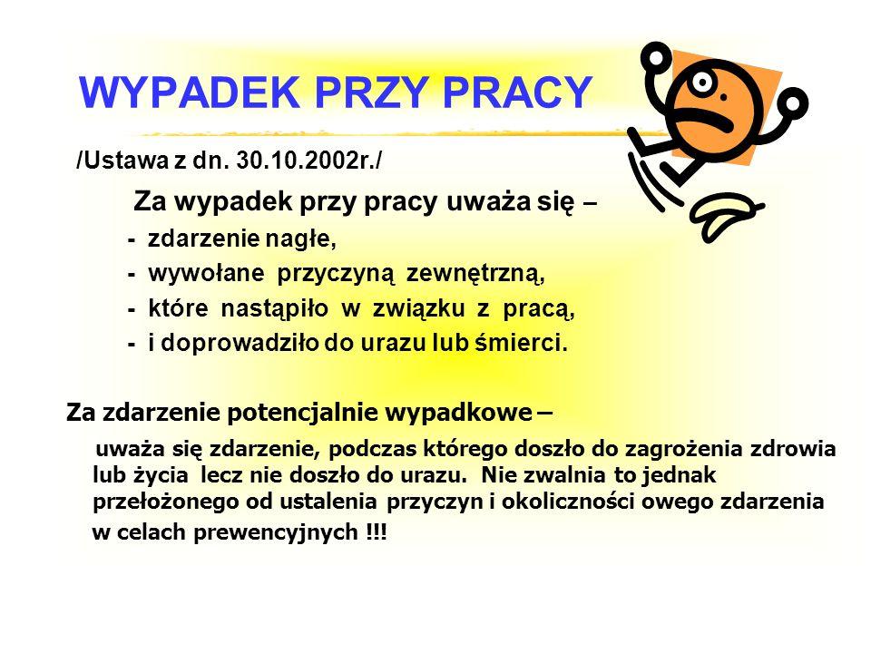 WYPADEK PRZY PRACY /Ustawa z dn. 30.10.2002r./