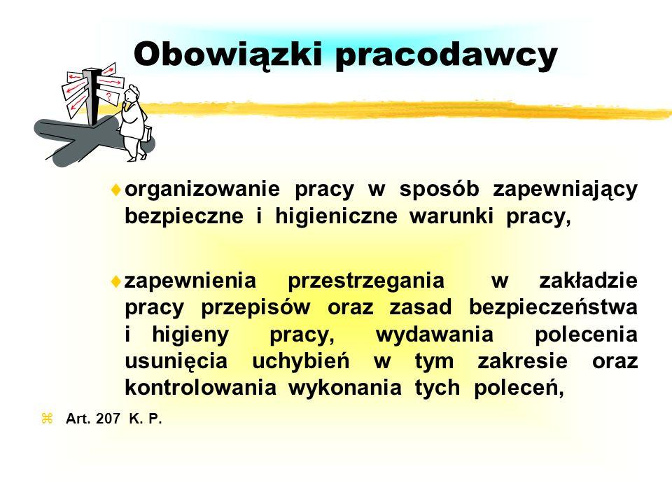 Obowiązki pracodawcyorganizowanie pracy w sposób zapewniający bezpieczne i higieniczne warunki pracy,