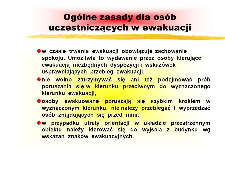 Ogólne zasady dla osób uczestniczących w ewakuacji