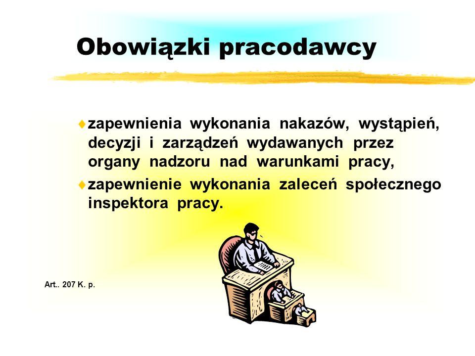Obowiązki pracodawcyzapewnienia wykonania nakazów, wystąpień, decyzji i zarządzeń wydawanych przez organy nadzoru nad warunkami pracy,