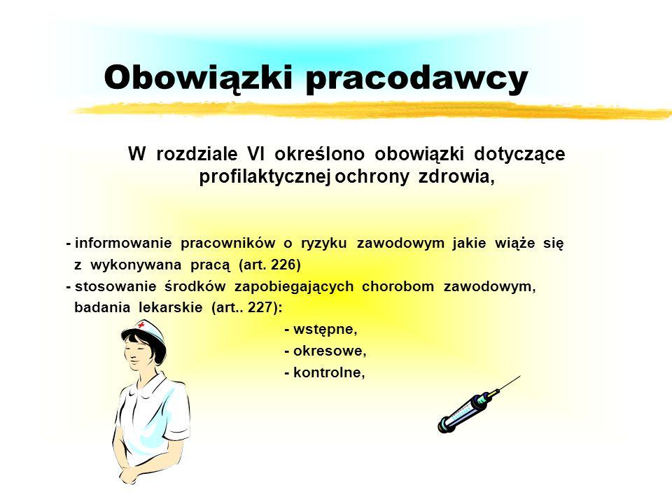 Obowiązki pracodawcy W rozdziale VI określono obowiązki dotyczące profilaktycznej ochrony zdrowia,