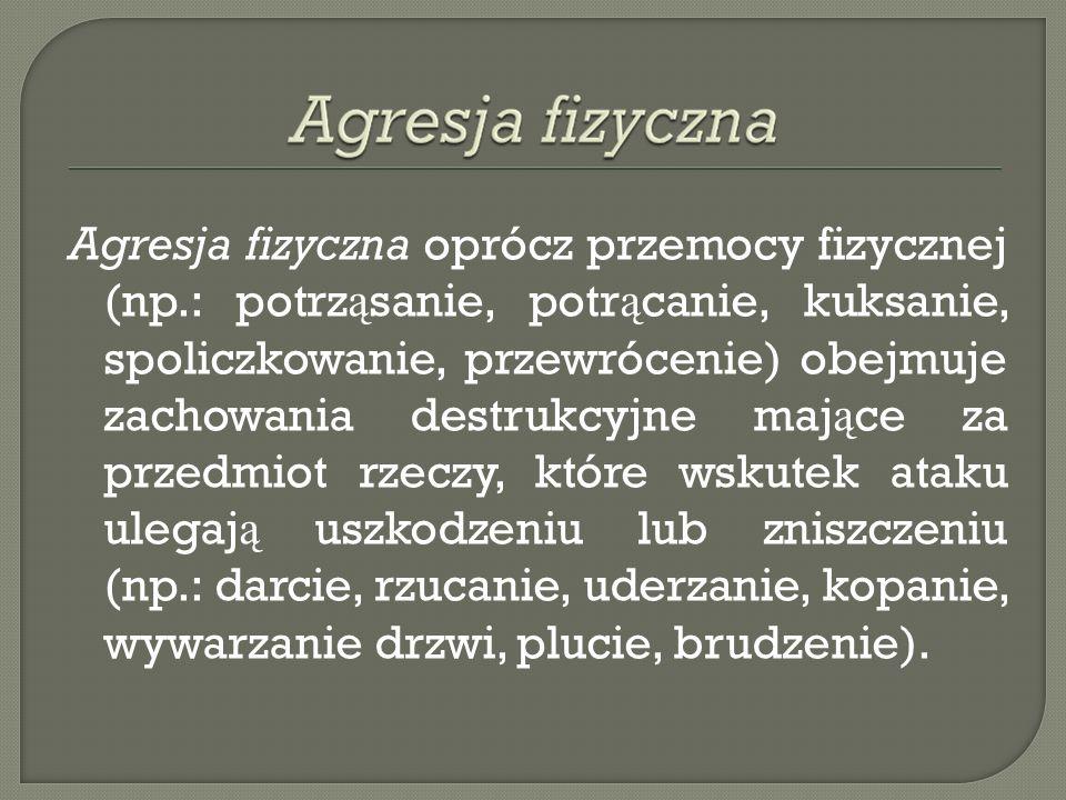 Agresja fizyczna oprócz przemocy fizycznej (np