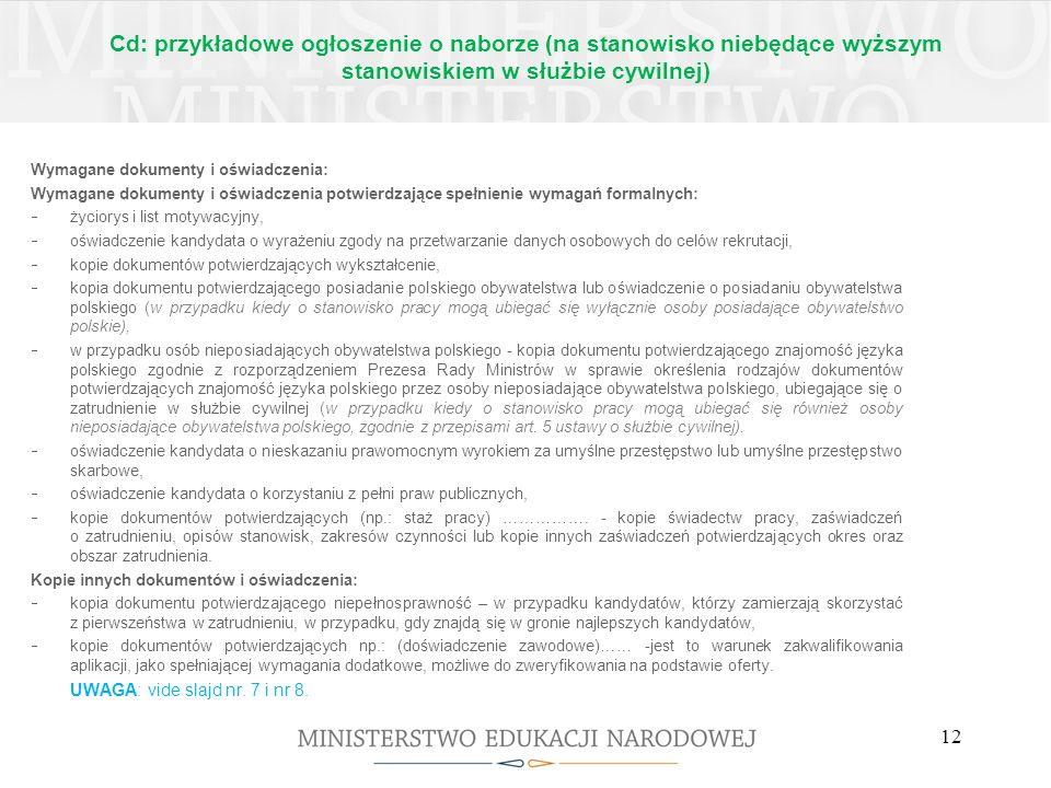 Cd: przykładowe ogłoszenie o naborze (na stanowisko niebędące wyższym stanowiskiem w służbie cywilnej)
