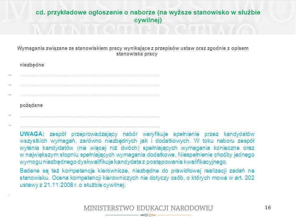 cd. przykładowe ogłoszenie o naborze (na wyższe stanowisko w służbie cywilnej)