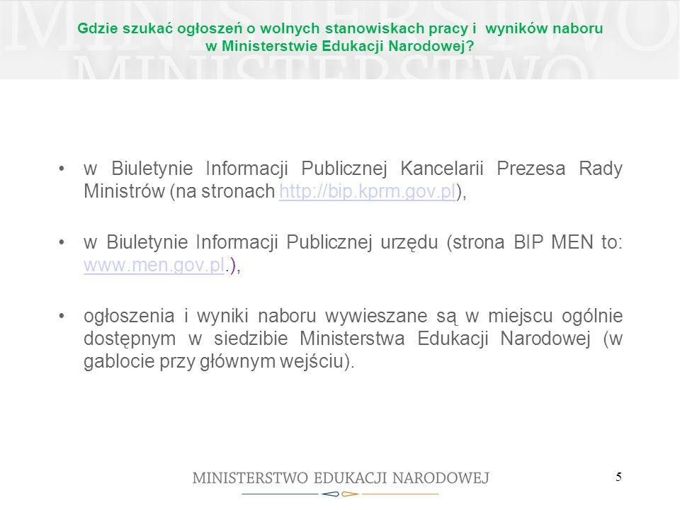 Gdzie szukać ogłoszeń o wolnych stanowiskach pracy i wyników naboru w Ministerstwie Edukacji Narodowej