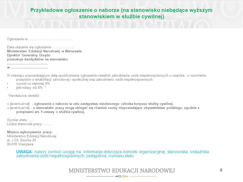 Przykładowe ogłoszenie o naborze (na stanowisko niebędące wyższym stanowiskiem w służbie cywilnej)