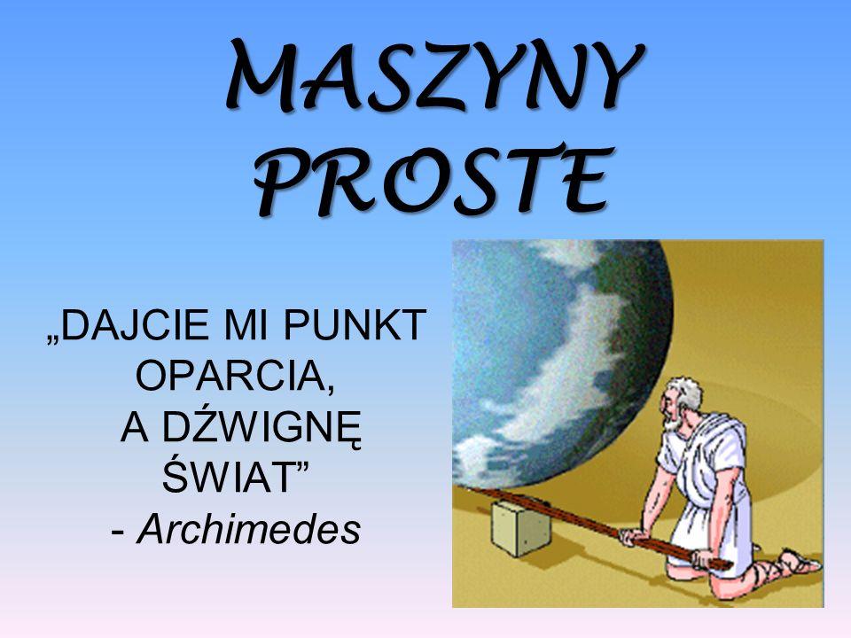 """""""DAJCIE MI PUNKT OPARCIA, A DŹWIGNĘ ŚWIAT - Archimedes"""