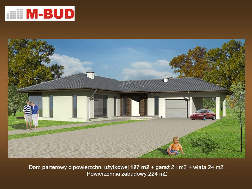 Dom parterowy o powierzchni użytkowej 127 m2 + garaż 21 m2 + wiata 24 m2.