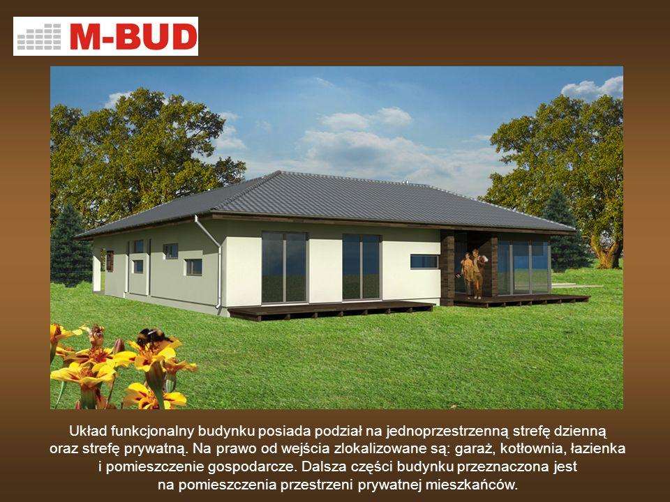 Układ funkcjonalny budynku posiada podział na jednoprzestrzenną strefę dzienną oraz strefę prywatną.