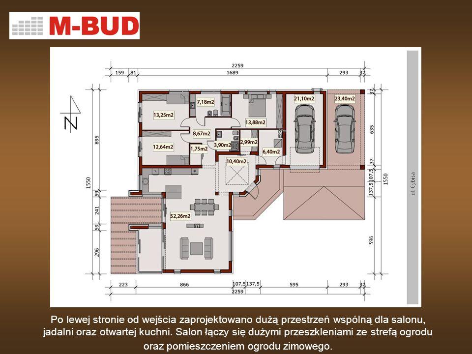 Po lewej stronie od wejścia zaprojektowano dużą przestrzeń wspólną dla salonu, jadalni oraz otwartej kuchni.