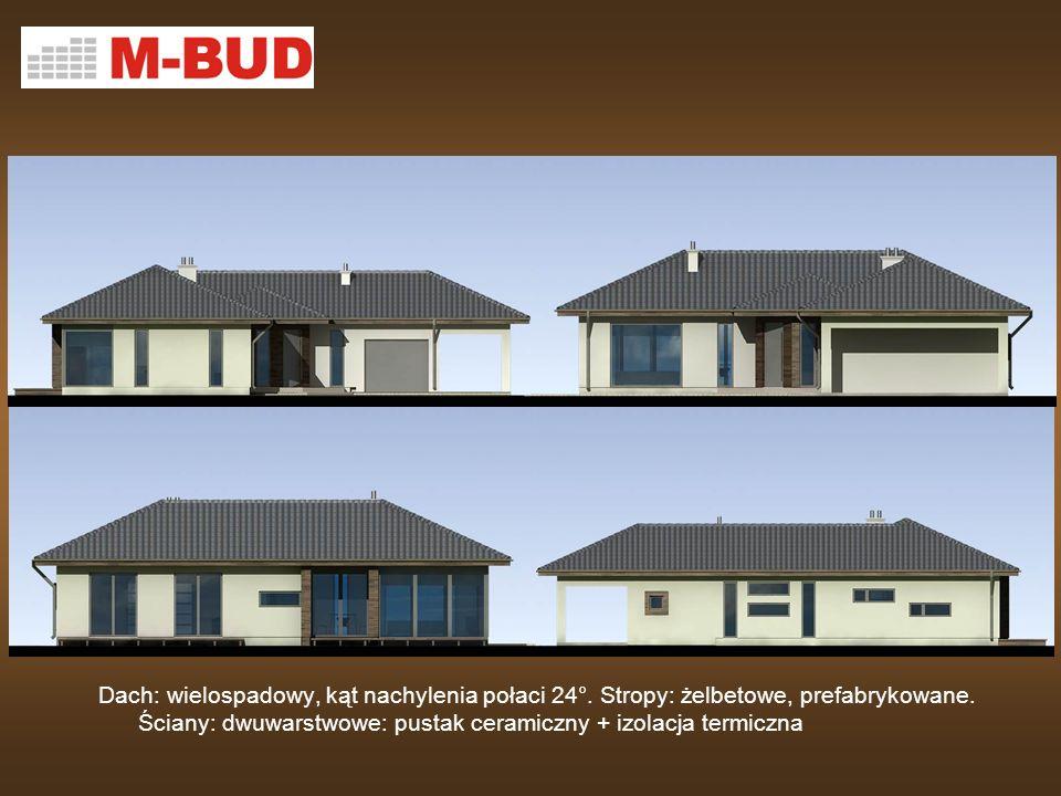 Dach: wielospadowy, kąt nachylenia połaci 24°