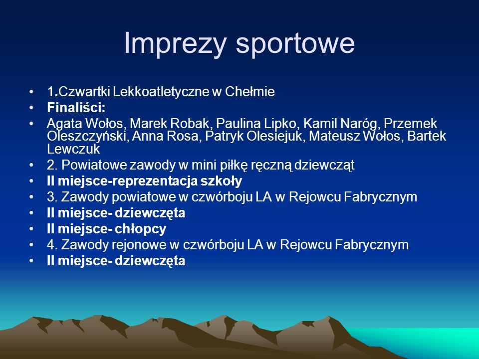 Imprezy sportowe 1.Czwartki Lekkoatletyczne w Chełmie Finaliści: