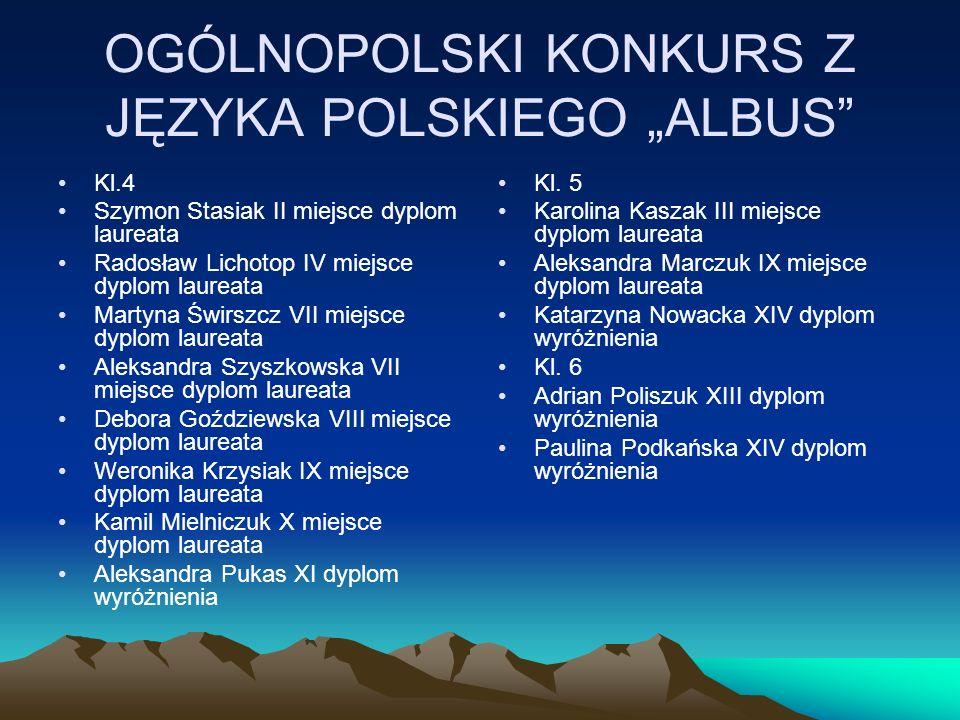 """OGÓLNOPOLSKI KONKURS Z JĘZYKA POLSKIEGO """"ALBUS"""