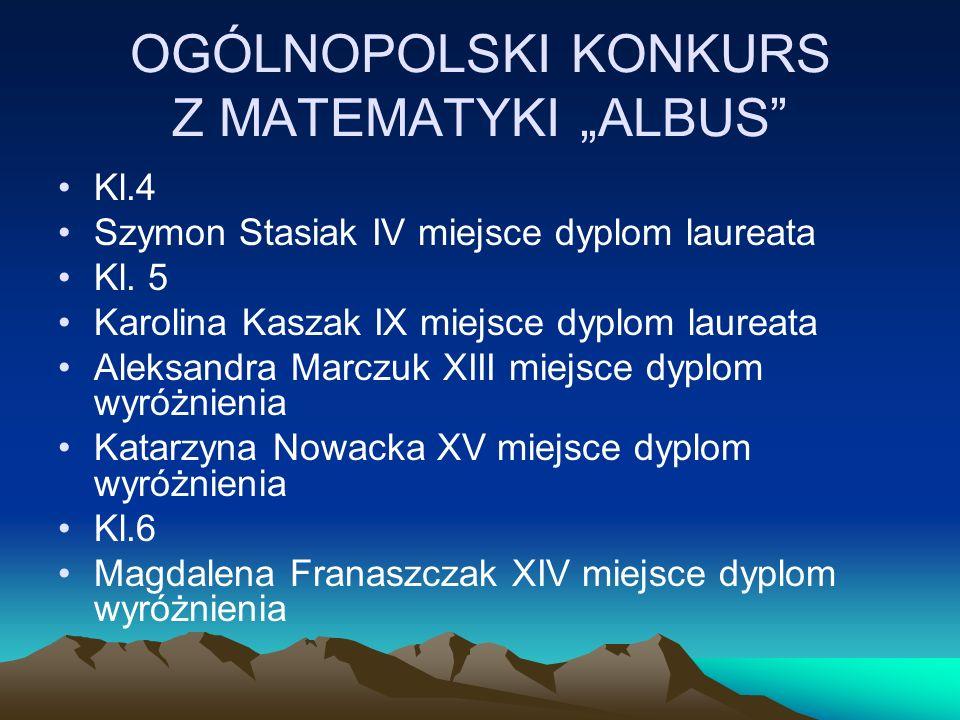 "OGÓLNOPOLSKI KONKURS Z MATEMATYKI ""ALBUS"