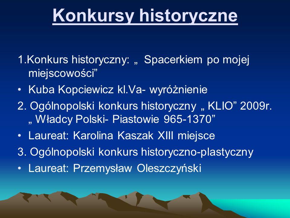 """Konkursy historyczne 1.Konkurs historyczny: """" Spacerkiem po mojej miejscowości Kuba Kopciewicz kl.Va- wyróżnienie."""