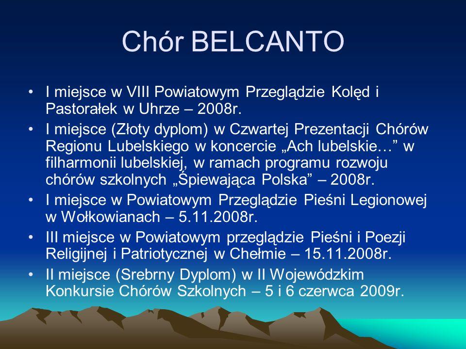 Chór BELCANTOI miejsce w VIII Powiatowym Przeglądzie Kolęd i Pastorałek w Uhrze – 2008r.