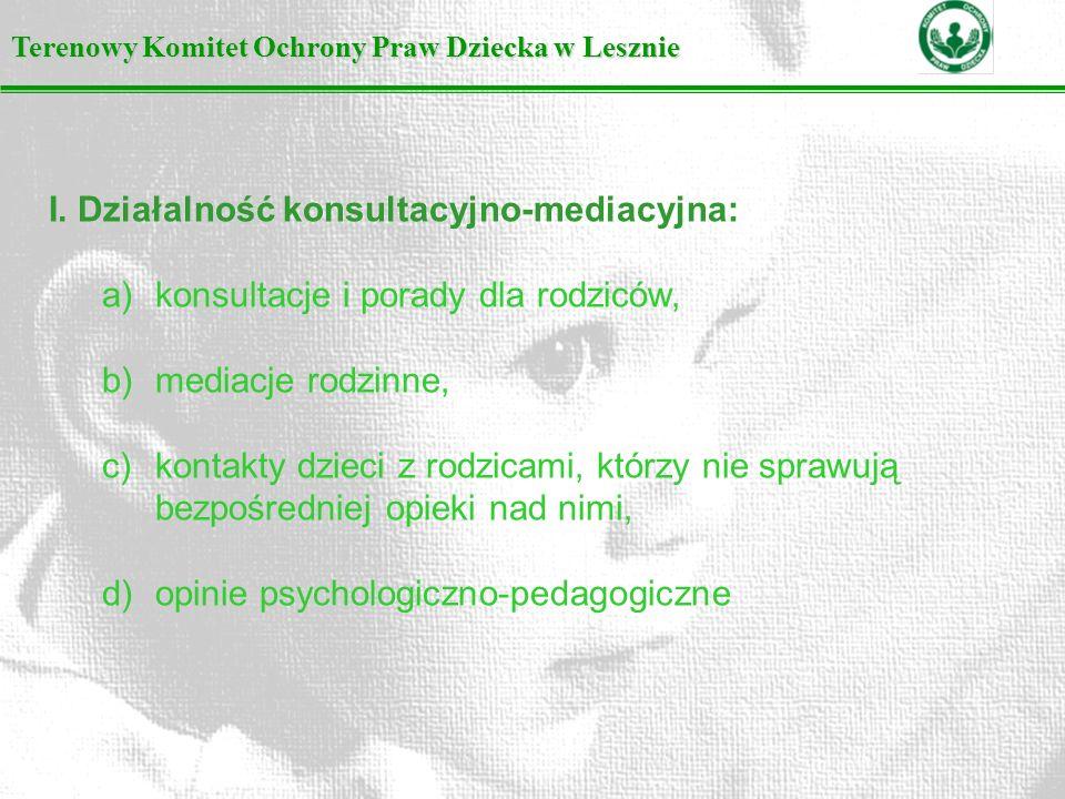 I. Działalność konsultacyjno-mediacyjna: