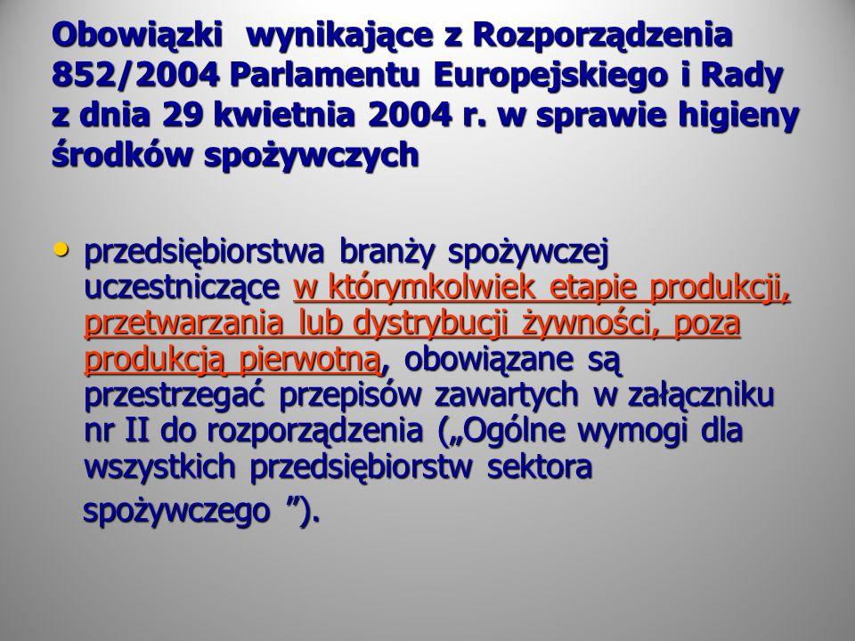 Obowiązki wynikające z Rozporządzenia 852/2004 Parlamentu Europejskiego i Rady z dnia 29 kwietnia 2004 r. w sprawie higieny środków spożywczych