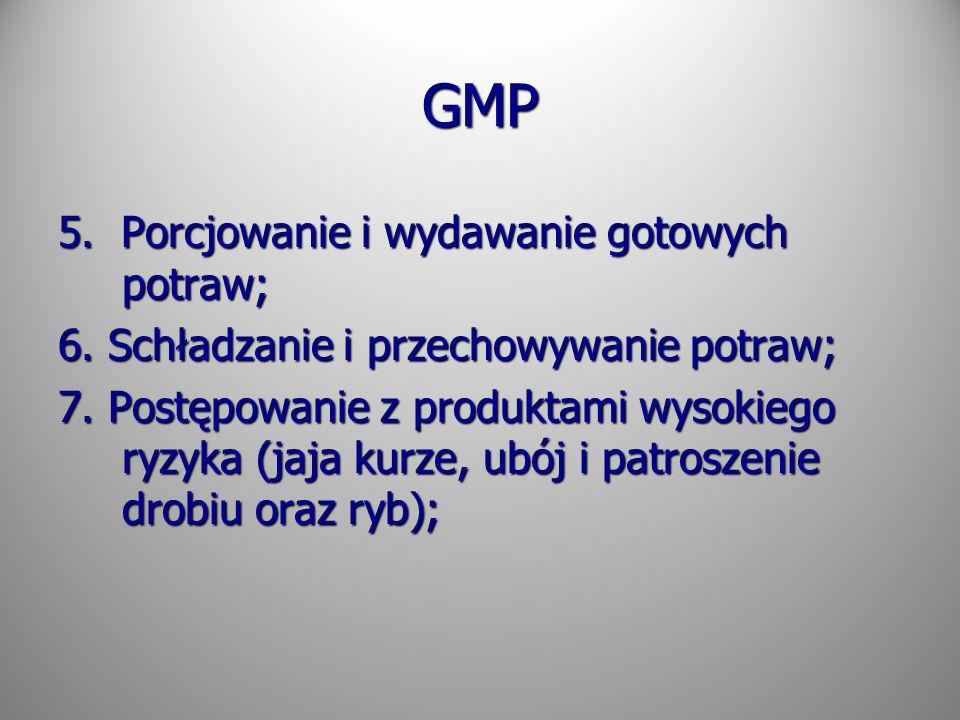 GMP 5. Porcjowanie i wydawanie gotowych potraw;