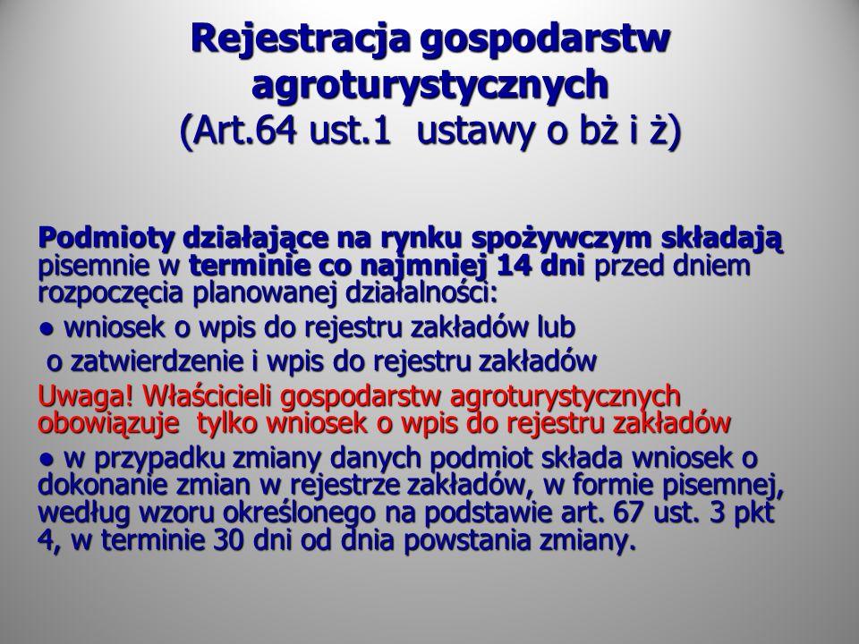 Rejestracja gospodarstw agroturystycznych (Art. 64 ust