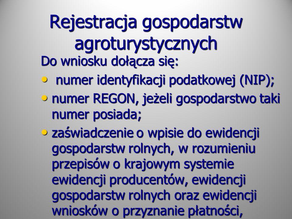 Rejestracja gospodarstw agroturystycznych
