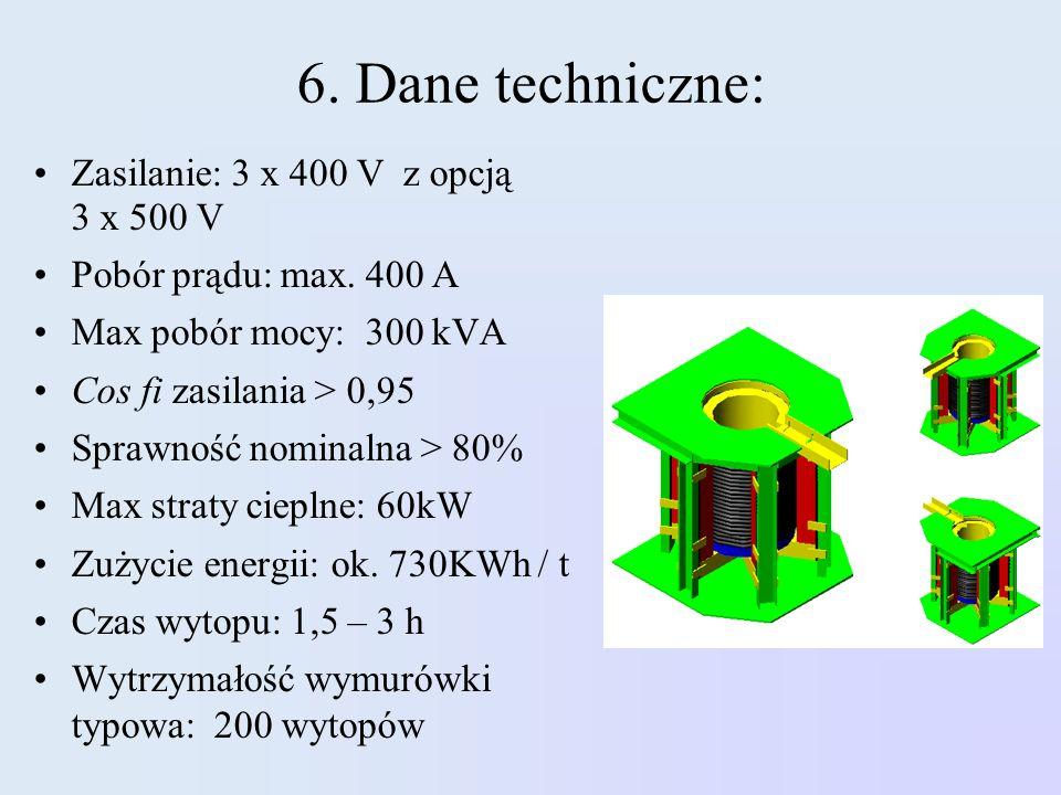 6. Dane techniczne: Zasilanie: 3 x 400 V z opcją 3 x 500 V