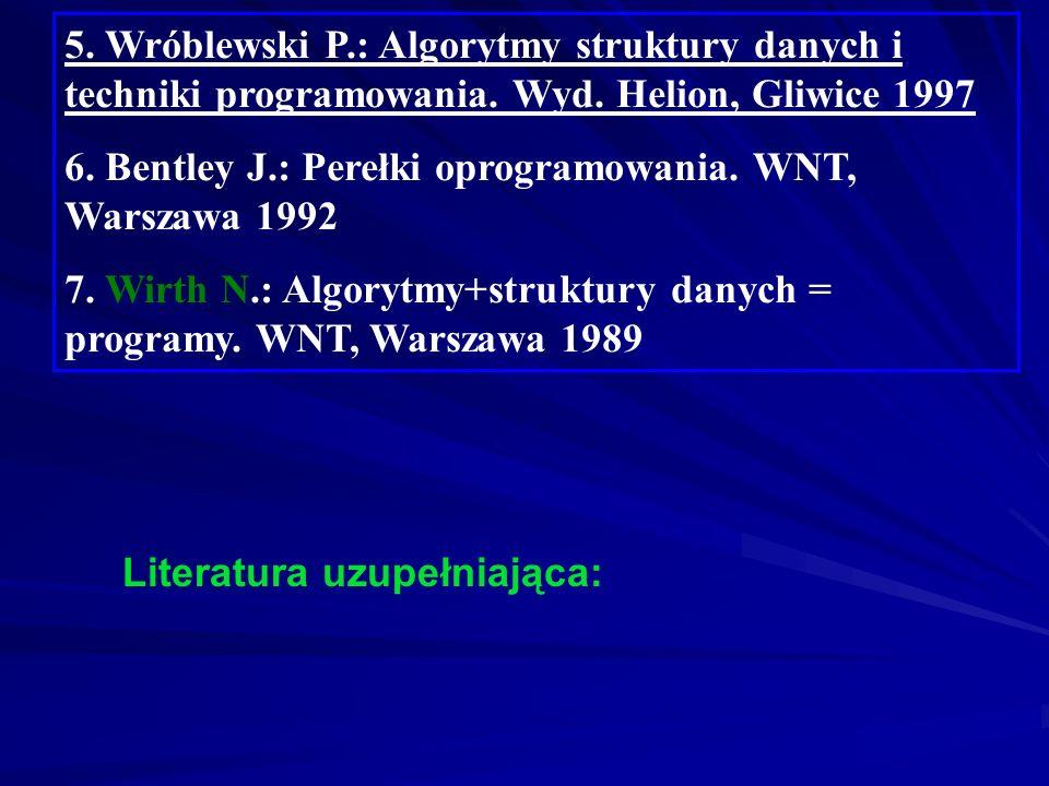 5. Wróblewski P. : Algorytmy struktury danych i techniki programowania