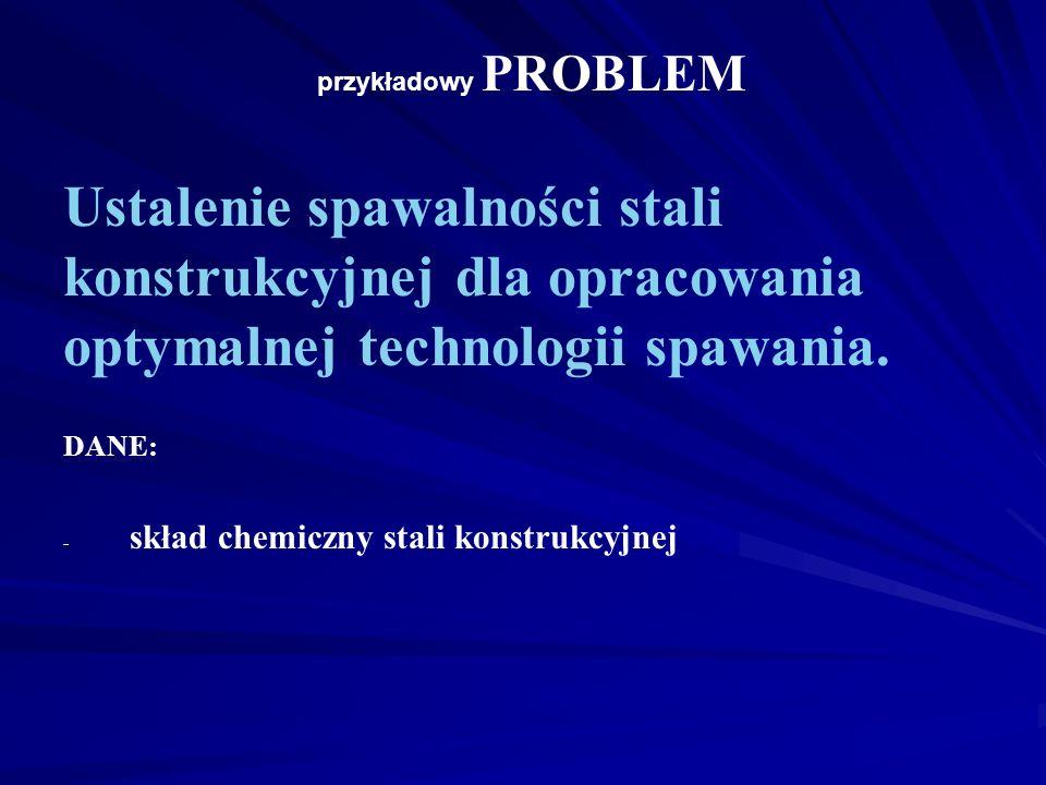 przykładowy PROBLEM Ustalenie spawalności stali konstrukcyjnej dla opracowania optymalnej technologii spawania.