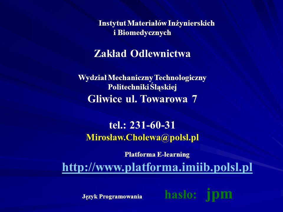 Zakład Odlewnictwa Gliwice ul. Towarowa 7 tel.: 231-60-31