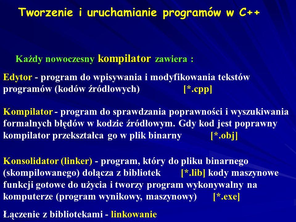 Tworzenie i uruchamianie programów w C++