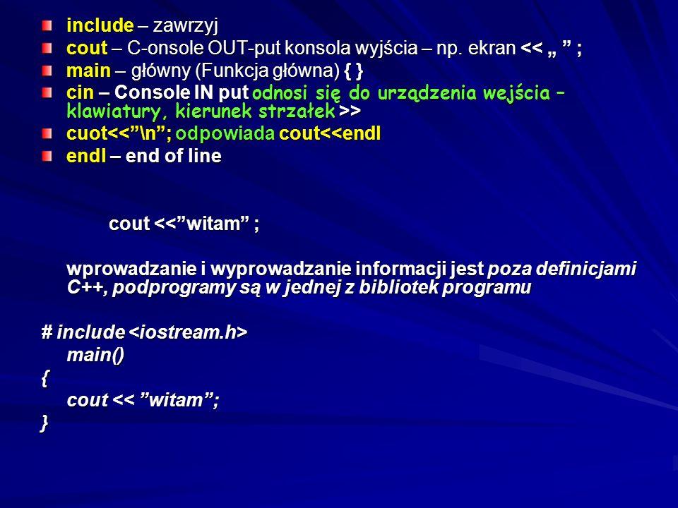 """include – zawrzyj cout – C-onsole OUT-put konsola wyjścia – np. ekran << """" ; main – główny (Funkcja główna) { }"""