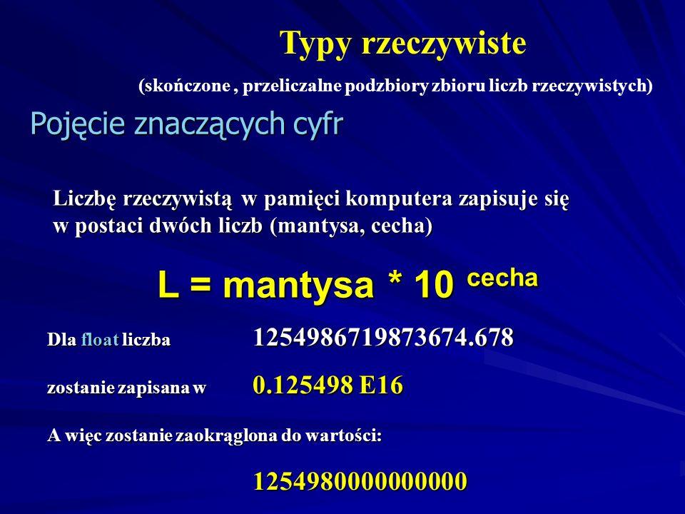 L = mantysa * 10 cecha Typy rzeczywiste Pojęcie znaczących cyfr