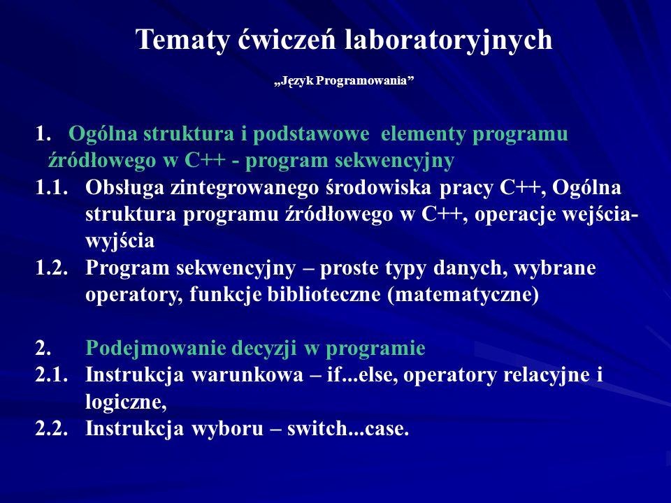 """Tematy ćwiczeń laboratoryjnych """"Język Programowania"""