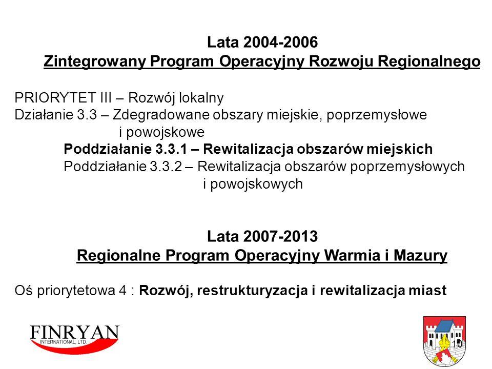 Lata 2004-2006 Zintegrowany Program Operacyjny Rozwoju Regionalnego