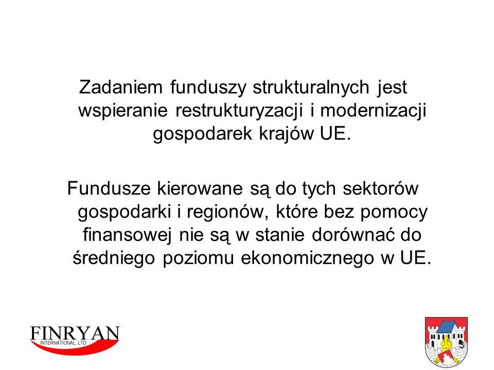 Zadaniem funduszy strukturalnych jest wspieranie restrukturyzacji i modernizacji gospodarek krajów UE.
