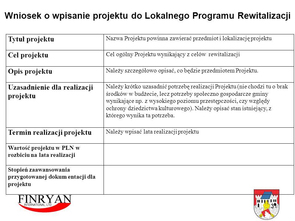 Wniosek o wpisanie projektu do Lokalnego Programu Rewitalizacji